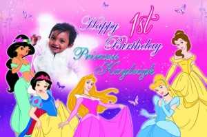 Princess Themed 1st Birthday Party Banner