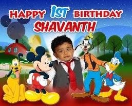 Mickey Mouse and Friends Clubhouse 1st Birthday Banner