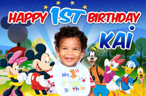 Mickey Mouse Club House 1st Birthday Banner